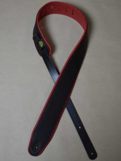 2.5″ Padded Upholstery Leather Guitar Strap Black & Red