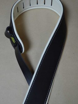 2.5″ Padded Upholstery Leather Guitar Strap Black & White