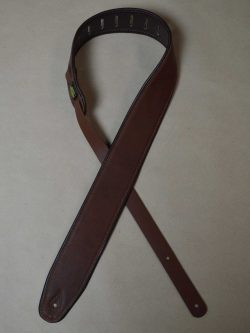 2.5″ Padded Upholstery Leather Guitar Strap Tan & Brown
