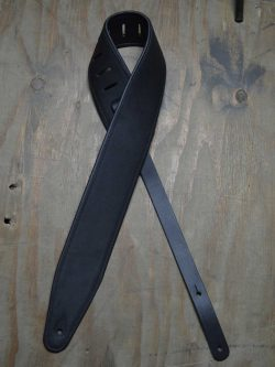 3.0″ Padded Upholstery Leather Guitar Strap Black & Black