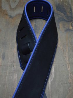 3.0″ Padded Upholstery Leather Guitar Strap Black & Blue