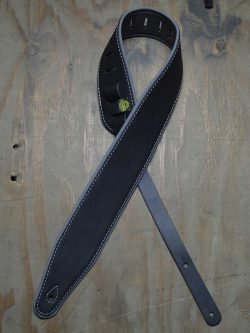 3.0″ Padded Upholstery Leather Guitar Strap Black & Grey