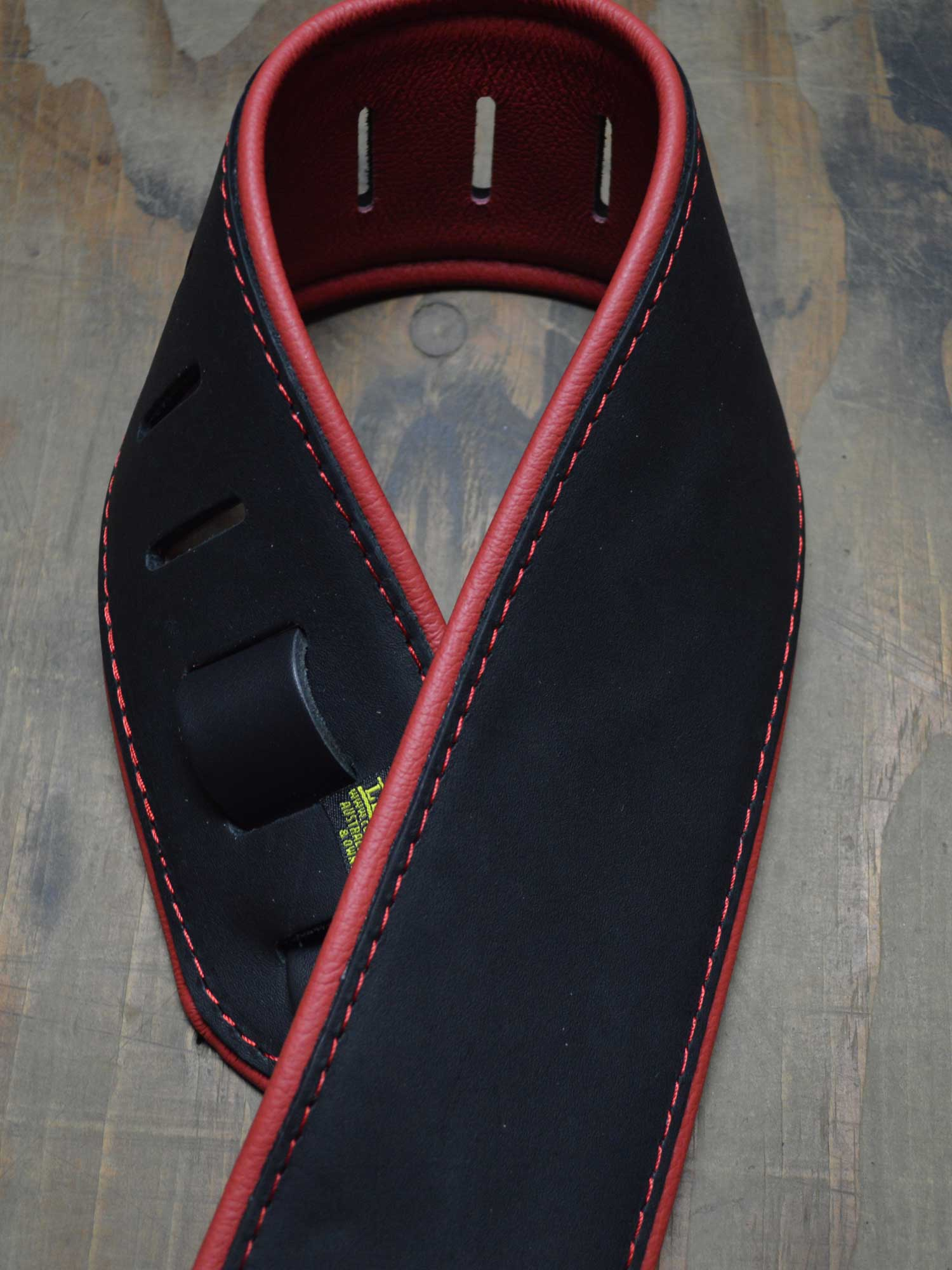 3.0″ Padded Upholstery Leather Guitar Strap Black & Red