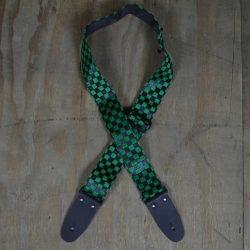 Green & Black Checker Guitar Strap