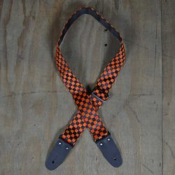 Orange & Black Checker Guitar Strap