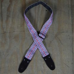 White Jacquard 50mm Webbing Guitar Strap