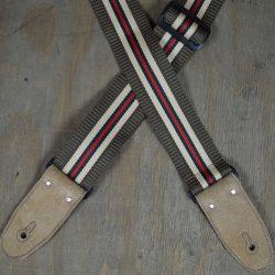 Brown 50mm Striped Webbing Guitar Strap