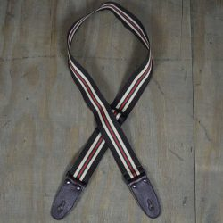 Dark Brown 50mm Striped Webbing Guitar Strap