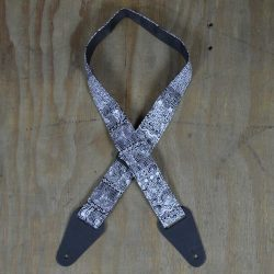 Aboriginal Art Guitar Strap – Black & White