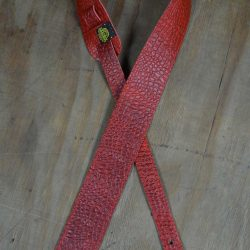 Red Croc Stitched 2.5″ Leather Guitar Strap
