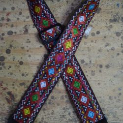 Multi Coloured Squares Jacquard 50mm Webbing Guitar Strap
