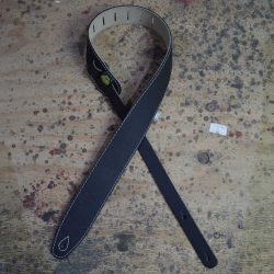 Black & Bone Upholstery Backed 2.5″ Leather Guitar Strap