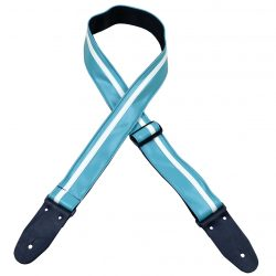 Stripe Rag Guitar Strap – Aqua with a White Stripe