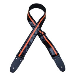 Stripe Rag Guitar Strap – Black with a Orange Stripe