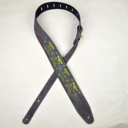 Flower and Leaves Embroidered Brown Suede Guitar Strap