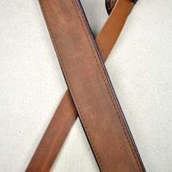 2.0″ Padded Upholstery Leather Guitar Strap Tan & Brown