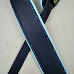 2.5″ Padded Upholstery Leather Guitar Strap Black & Aqua