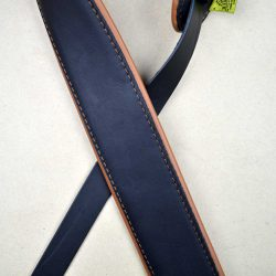 2.5″ Padded Upholstery Leather Guitar Strap Black & Tan