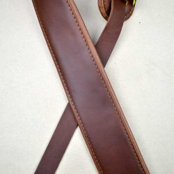 2.5″ Padded Upholstery Leather Guitar Strap Brown & Tan