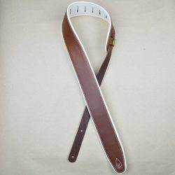 2.5″ Padded Upholstery Leather Guitar Strap Brown & White