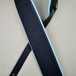 3.0″ Padded Upholstery Leather Guitar Strap Black & Aqua
