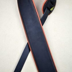 3.0″ Padded Upholstery Leather Guitar Strap Black & Orange