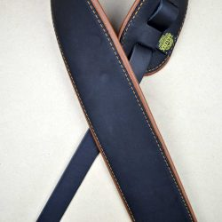 3.0″ Padded Upholstery Leather Guitar Strap Black & Tan