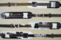 Vintage Style Guitar Strap Genuine Hair On Cowhide With White Leather Back