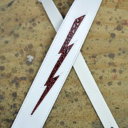Red Croc Lightning Bolt on White Leather Inlay Strap