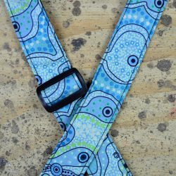Aboriginal Art Rag Ukulele Strap – Yalke Wetlands Aqua