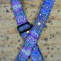 Aboriginal Art Rag Ukulele Strap – Yalke Wetlands Purple