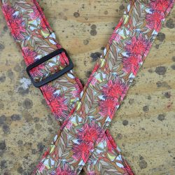 Aboriginal Art Guitar Strap – Red Gum Flower