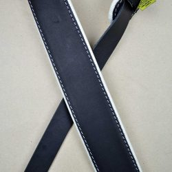 2.0″ Padded Upholstery Leather Guitar Strap Black & White