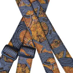 Aboriginal Art Rag Ukulele Strap – Bush Plum Gold